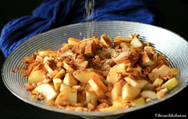 Ingrediente pentru tarta cu mere, pere si ghimbir